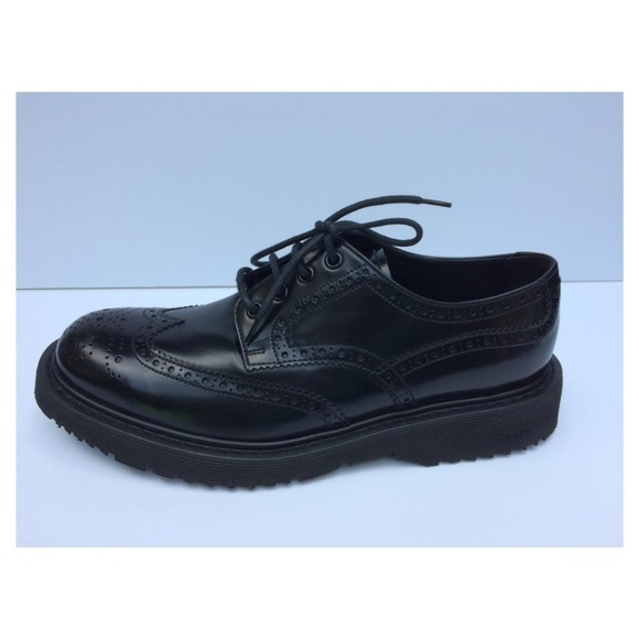 Prada Round-Toe Leather-Trimmed Oxfords sale 2014 new FfK6D